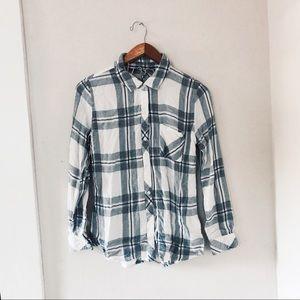Rails Hunter White/Indigo Melange Shirt Small